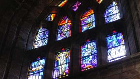 and its magnificent West window which gave me the idea for these elemental posts.  At the top the dove is surrounded by the flame of Flotta oil terminal