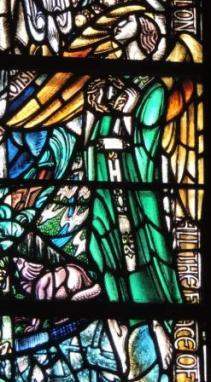 Angel with crown of Thorns Douglas Strachan window Kilbrandon Church